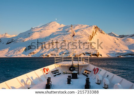 Antarctica mountain from cruise ship, expedition to Antarctica - stock photo