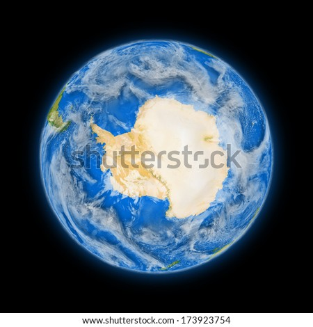 Antarctica on blue planet Earth isolated on black background. Highly detailed planet surface. Elements of this image furnished by NASA. - stock photo