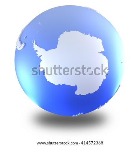 Antarctica on bright metallic model of planet Earth with blue ocean and shiny embossed continents with visible country borders. 3D illustration isolated on white background with shadow. - stock photo