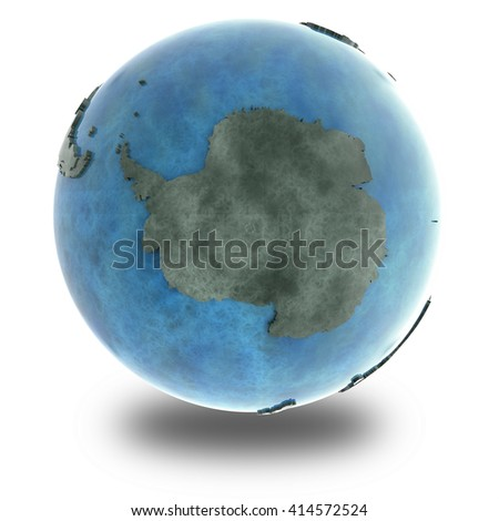 Antarctica on 3D model of planet Earth made of blue marble with embossed countries and blue ocean. 3D illustration isolated on white background with shadow. - stock photo