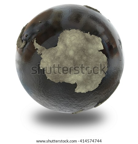 Antarctica on 3D model of planet Earth with black oily oceans and concrete continents with embossed countries. Concept of petroleum industry. 3D illustration isolated on white background with shadow. - stock photo