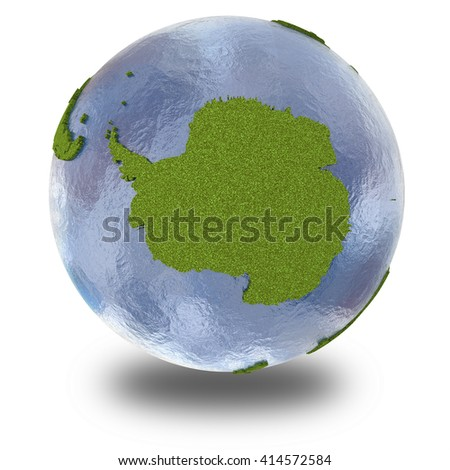 Antarctica on 3D model of planet Earth with grassy continents with embossed countries and blue ocean. 3D illustration isolated on white background with shadow.