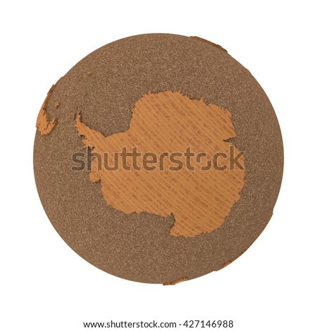Antarctica on 3D model of wooden planet Earth with oceans made of cork and wooden continents with embossed countries. 3D illustration isolated on white background. - stock photo