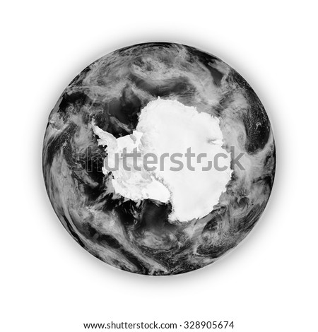Antarctica on dark planet Earth isolated on white background. Highly detailed planet surface. Elements of this image furnished by NASA.