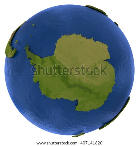 Antarctica on detailed model of planet Earth with visible country borders on green land and waves on the ocean waters. 3D Illustration isolated on white background. - stock photo