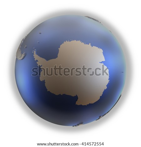 Antarctica on elegant metallic model of planet Earth with blue ocean and shiny embossed continents with visible country borders. 3D illustration isolated on white background. - stock photo