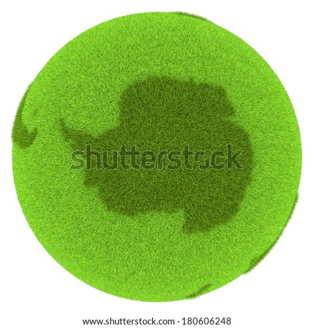 Antarctica on green planet covered with grass isolated on white background. Concept of ecology and clean environment. Elements of this image furnished by NASA