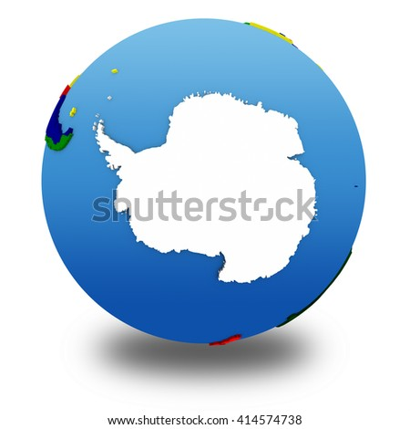 Antarctica on political 3D model of Earth with embossed continents and countries in various colors. 3D illustration isolated on white background with shadow. - stock photo