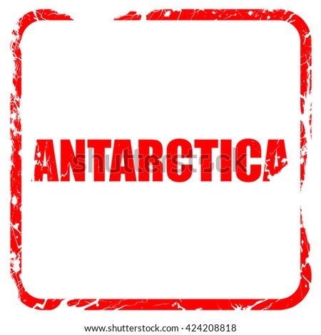 antarctica, red rubber stamp with grunge edges - stock photo
