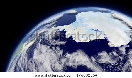 Antarctica viewed from space with atmosphere and clouds. Elements of this image furnished by NASA. - stock photo