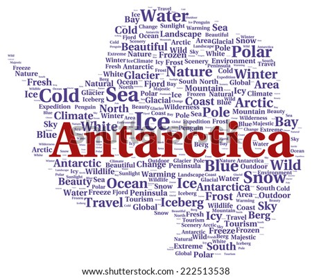 Antarctica word cloud shape concept