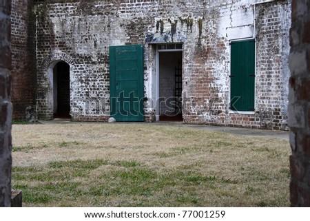 Antebellum Architecture at Historic Fort Jackson, Savannah, Georgia - stock photo