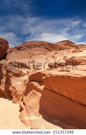Antelope Canyon in Arizona. Vertical Shot - stock photo