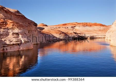 Antelope Canyon Reflection Glen Canyon Recreation Area Lake Powell Arizona - stock photo