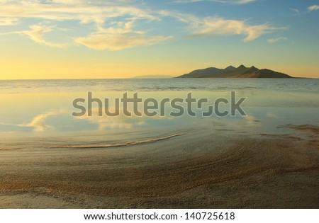 Antelope Island on the Great Salt Lake, Utah, USA. - stock photo