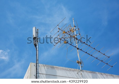 antena and blue sky with cloud