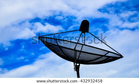 Antenna communication satellite dish with blue sky.Satellite TV with blue sky - stock photo