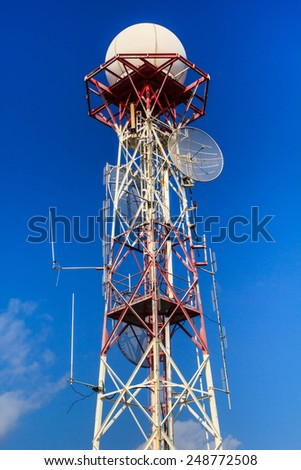 Antenna communication via telephone and the Internet. - stock photo
