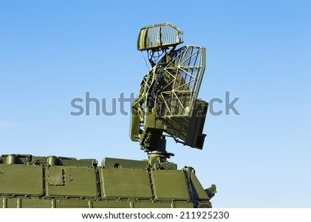 Antenna for air defense complex, made of phased array technology, on a rotating platform - stock photo