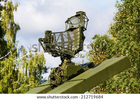 Antenna for missile air defense complex on a rotating platform - stock photo