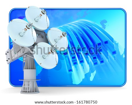 Antenna icon. Digital satellite communication concept. Satellite dish and screen with binary data stream isolated on white. - stock photo