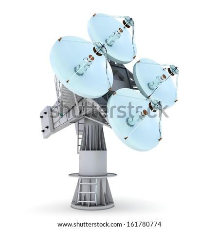 Antenna icon. Digital satellite communication concept. Satellite dish isolated on white. - stock photo