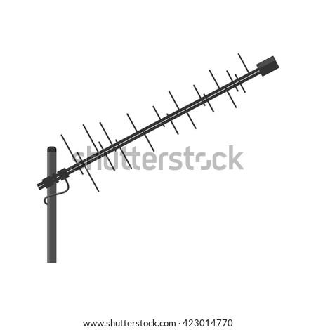 Antenna icon. Television antenna. TV antenna. Aerial icon. Antenna icon set. Antenna raster isolated on a white background. - stock photo