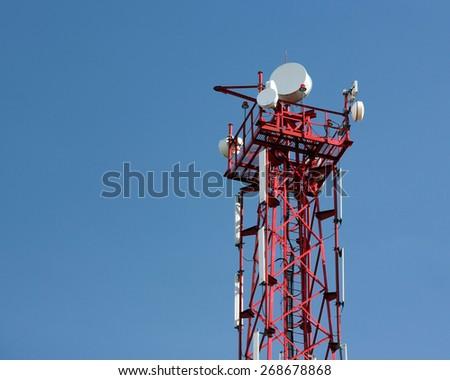 antenna of mobile communication - stock photo