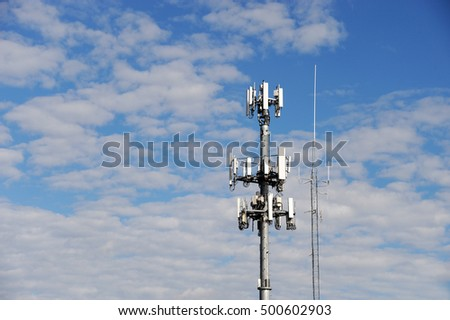 antenna on communication towers in blue sky