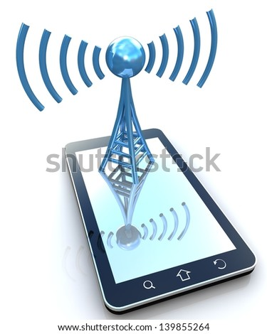 Antenna on smartphone in 3D - stock photo