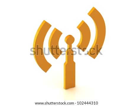 antenna RSS on white background, 3D rendered Illustration