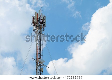 Antenna tower on blue sky background.
