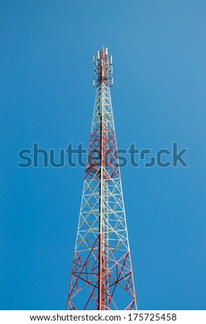 Antenna tower with blue sky - stock photo