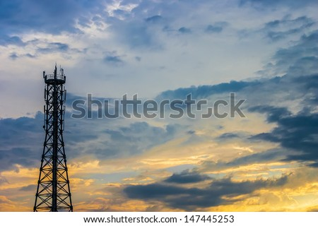 Antenna tower with  sky in afternoon