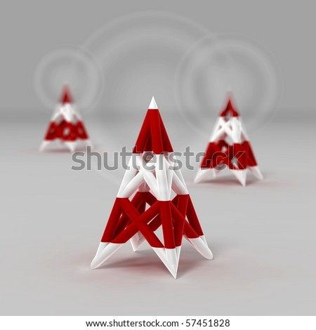 antenna wireless network icon - stock photo