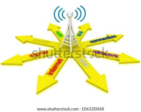 antenna with radio waves - stock photo