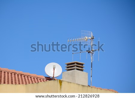 antennas and chimney on an italian roof