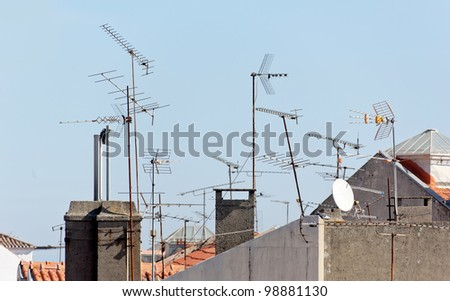 Antennas on roof - Lisbon, Portugal - stock photo