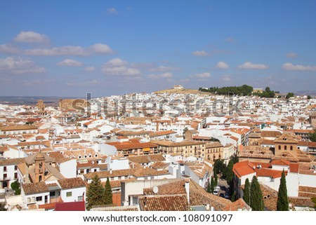 Antequera in Andalusia region of Spain. Townscape view of typical Spanish town.
