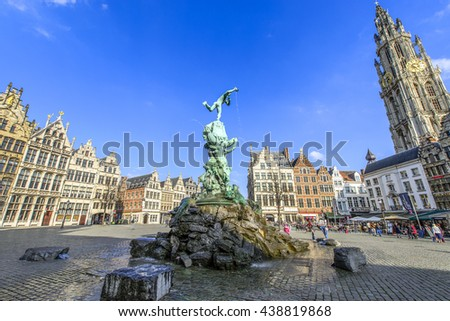 ANTEWERP, BELGIUM - APR 11, 2016: City Hall at the main square in Antwerp, Belgium. Antwerp is the capital of Antwerp province and the most populous city in Belgium. - stock photo