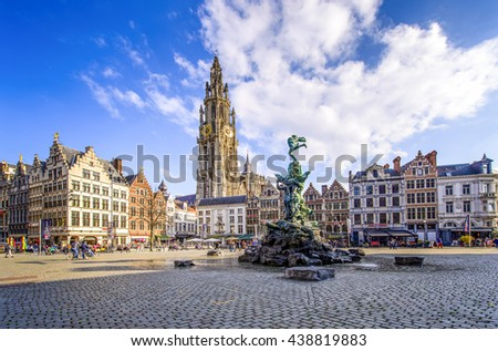 ANTEWERP, BELGIUM - APR 11, 2016: City Hall at the main square in Antwerp, Belgium. Antwerp is the capital of Antwerp province and the most populous city in Belgium.