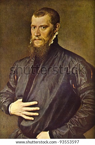 "Anthonis Mor ""Portrait of a man"". Reproduction from illustrated Encyclopedia «Art galleries of Europe», Partnership «M. O. Wolf», St. Petersburg - Moscow, Russia , 1901"