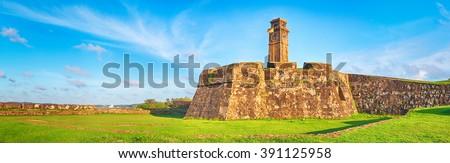 Anthonisz Memorial Clock Tower in Galle, Sri Lanka. Panorama - stock photo