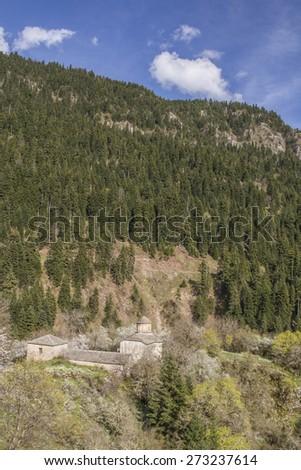 Anthousa's monastery in  village Haliki near to Metsovo Greece - stock photo