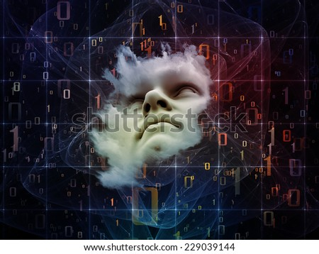 Anthropocentric series. Abstract design made of human face and design elements on the subject of technology, science, education and human mind - stock photo