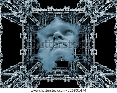 Anthropocentric series. Artistic background made of human face and design elements for use with projects on technology, science, education and human mind - stock photo