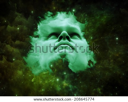 Anthropocentric series. Composition of human face and design elements on the subject of technology, science, education and human mind - stock photo