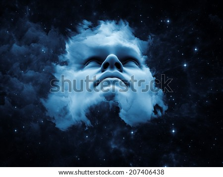 Anthropocentric series. Composition of human face and design elements suitable as a backdrop for the projects on technology, science, education and human mind - stock photo