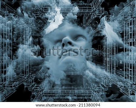 Anthropocentric series. Creative arrangement of human face and design elements as a concept metaphor on subject of technology, science, education and human mind - stock photo