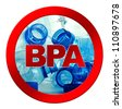 Anti bisphenol A (BPA) sign with commonly used polycarbonate plastic bottles of mineral water - stock photo